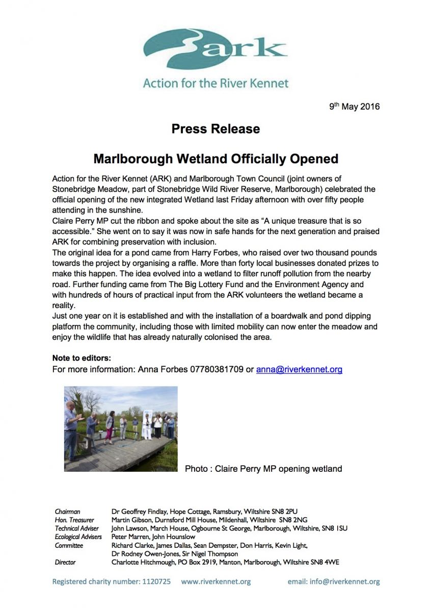 Press release: Marlborough wetland officially opened